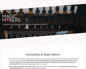 A screenshot of a website for Magic Makers Queer Art, Craft and Healing Fair.