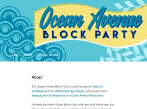 "A screenshot of a website shows a banner that reads ""Ocean Avenue Block Party"""