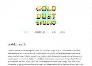A screenshot of a website for Gold Dust Studio