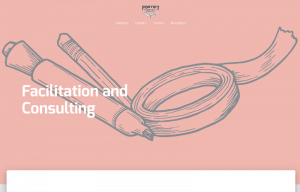 """A screenshot of a website for Fortify Community Health. Text reads: """"Facilitation and Consulting"""" over a drawing of markers and tape"""