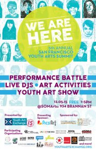 poster design has a grid of illustrated, linoleum block self portraits. text advertises the San Francisco Youth Arts Summit