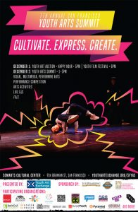 poster features an image of a young person breakdancing. text advertises the San Francisco Youth Arts Summit