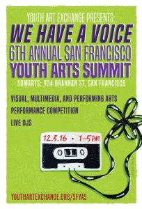 bright green poster with an illustration of a cassette tape. text advertises a Youth Arts Summit in San Francisco