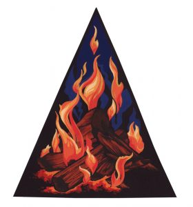 A painting of a burning pile of logs, with flames reaching up toward the sky
