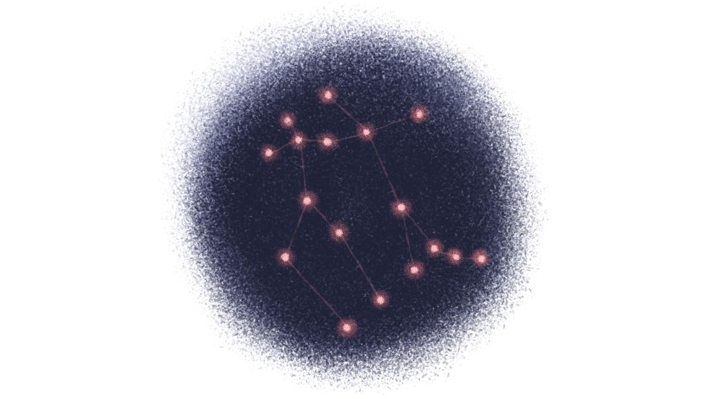 circular illustration of a dark sky with an illuminate Gemini constellation